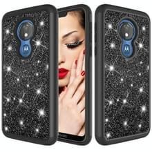 Glitter poeder contrast huid schokbestendig silicone + PC beschermende case voor Motorola Moto G7 Power US versie (zwart)
