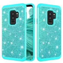 Glitter poeder contrast huid schokbestendig silicone + PC beschermende case voor Galaxy S9 PLUS (groen)