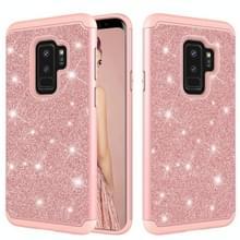 Glitter poeder contrast huid schokbestendig silicone + PC beschermende case voor Galaxy S9 PLUS (Rose goud)