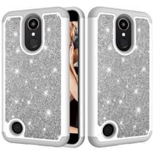 Glitter poeder contrast huid schokbestendig silicone + PC beschermende case voor LG K10 (2017)/K20 plus (grijs)