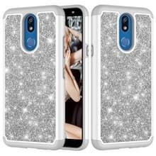Glitter poeder contrast huid schokbestendig silicone + PC beschermende case voor LG K40/K12 plus (grijs)