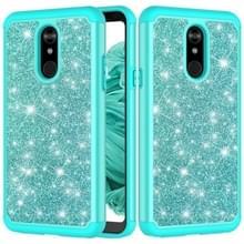 Glitter poeder contrast huid schokbestendig silicone + PC beschermende case voor LG Stylo 5 (groen)