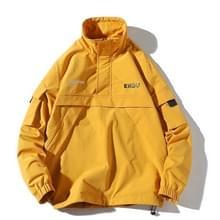 Letters afgedrukt stand kraag Pullover vacht losse casual jas voor mannen (kleur: geel maat: XXL)