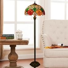 YWXLight Rose patroon gekleurd glas lampenkap vloer lamp woonkamer slaapkamer studie Restaurant Bar decoratie licht (EU-stekker)