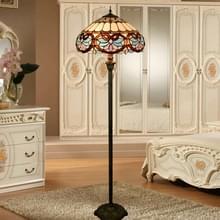 YWXLight retro glas mozaïek lampenkap vloer lamp woonkamer eetkamer slaapkamer decoratie licht (EU-stekker)