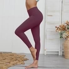 Dubbelzijdige Brocade Fitness Leggings (Kleur:Donkerrood Formaat:L)