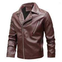 Mode revers plus fluweel motorfiets lederen jas (kleur: rood maat: L)