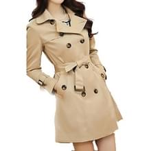 Mid-length Slim Casual Lace-up Trench Windbeaker (Kleur: Khaki Grootte: S)