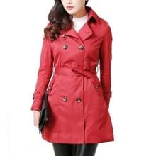 Mid-length Slim Casual Lace-up Trench Windbeaker (Kleur: Rood Formaat:XXL)