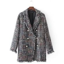 Medium Long Tweed Pearl Fringe Dames Jas (Kleur:Kleurgrootte:L)