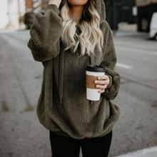Lange mouwen Hooded effen kleur vrouwen trui jas (kleur: groen maat: S)