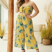 Boheemse bloem afdrukken Sling borst tops elastische taille Wide Leg Broek (kleur: geel maat: L)