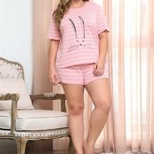 Animal Print Stripe korte mouw korte broek set ronde kraag groot formaat vrouwen Home Wear (kleur: roze maat: XXXXL)