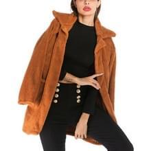 Lange sectie Fleece Casual Revers Wollen Jas (Kleur: Camel Size:M)