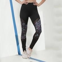Mesh Printing botsing kleur yoga legging (kleur: zwart maat: L)
