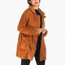 Lange wollen revers fleece jas (kleur:oranje grootte: L)