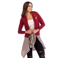Geborduurde rits gebreide vest dunne top jas trui (kleur: rood formaat: M)