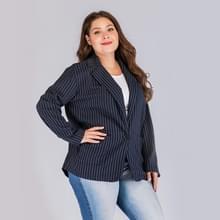 Plus size vrouwen Pinstriped diepe V-hals lange mouw pak (kleur: Navy blauw maat: XL)
