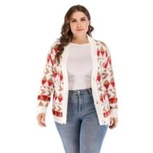 Plus size vrouwen afgedrukt V-hals lange mouw trui (beige)