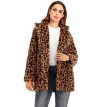 Vrouwen Leopard Korte Pluche Jas (Kleur:Brown Size:XL)