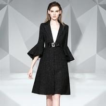 Trompetmouw lange stijl wollen jas (kleur: zwart maat: M)