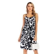 Sexy Bloemenband Slim Print Jurk (kleur: zwart wit formaat: S)