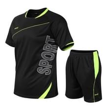 Mannen Loose Leisure Sports Fitness Pak Sneldrogende Kleding (Kleur: Black Size:XXL)