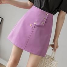 Summer Button ingericht onregelmatige korte rok high-waisted A-lijn Rok (Kleur: Paarse maat: XL)