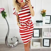 Slim-fit taille afslanken ronde hals gestreepte riem jurk (kleur: dikke rode maat: XXXL)
