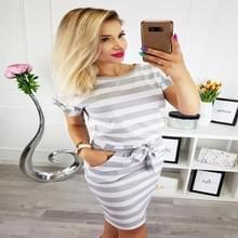 Slim-fit taille afslanken ronde hals gestreepte riem jurk (kleur: dikke gestreepte grijze maat: M)