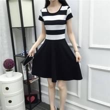 Fashion Ronde Hals streep los en dunne korte mouw jurk (kleur: zwart wit formaat: S)