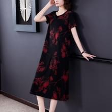 Ice Silk Print Losse mid length jurk (kleur: rood formaat: M)