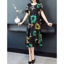 Western Style Los en dunne mid-length jurk met leeftijdsverkleining Print (kleur: groene bloem grootte: M)