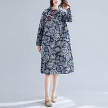 Retro Disc Button Stand Kraag Cheongsam etnische stijl plus maat gedrukt katoen en linnen jurk (kleur: blauwe maat: L)