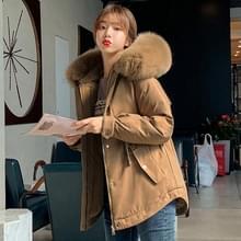 Grote bontkraag down jas Parker jas losse jas (kleur: bruine maat: XL)