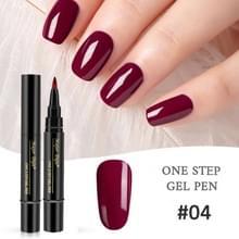 Nagellak 3 in 1 nagel gel pen nagel pen luie lijm lang blijvende nagellak pen 5ml (#04)