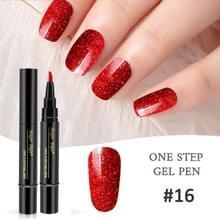 Nagellak 3 in 1 nagel gel pen nagel pen luie lijm lang blijvende nagellak pen 5ml (#16)