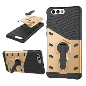 Asus Zenfone 4 (ZE554KL) PC + TPU Dropproof Sniper Hybrid Protective Back Cover Case with 360 Degree Rotation Holder (Gold)