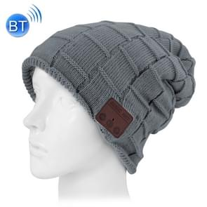 Square Textured Knitted Bluetooth Headset Warm Winter Beanie Hat with Mic for Boy & Girl & Adults (Dark Grey)