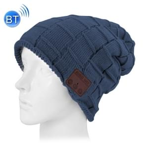 Square Textured Knitted Bluetooth Headset Warm Winter Beanie Hat with Mic for Boy & Girl & Adults(Dark Blue)