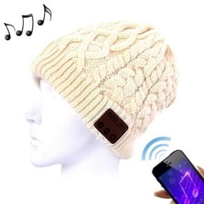 Wavy Textured Knitted Bluetooth Headset Warm Winter Beanie Hat with Mic for Boy & Girl & Adults(Beige)