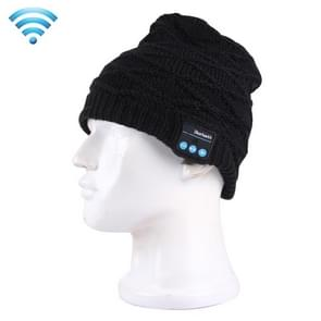 Wavy Textured Knitted Bluetooth Headset Warm Winter Hat with Mic for Boy & Girl & Adults(Black)