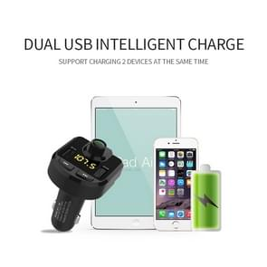 Bluetooth FM Transmitter Wireless In-Car Radio Adapter Music Player Hands-Free Calling Car Kit, Dual USB Charger, Support Bluetooth / Micro SD Card / TF Card / USB Disk