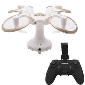 415B Foldable Round Drone 2.4GHz 4-CH 6-Axis Gyro RC Quadcopter with 0.3MP WiFi Camera & LED Light & Remote Control, Headless Mode, One Key Return, Hovering(White)
