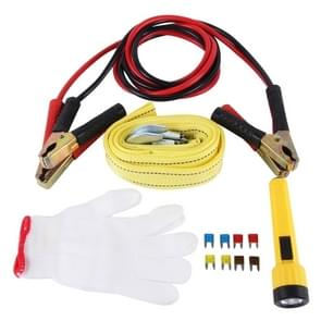 ZY-121 5 in 1 3m×4cm 2 Ton Towing Belt Rope 200AMP Booster Kabel Torch Glove beschermings Tube Car Road Emergency Kit