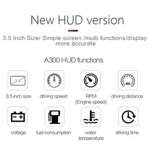 A300 HUD 3.5 inch Car Head Up Display Security System with Multi-color, Speed & RPM & Water Temperature & Oil Consumption & Driving Distance / Time & Voltage Display, Over Speed Alarm, Low Voltage Alarm, Kilometers & Miles Switching