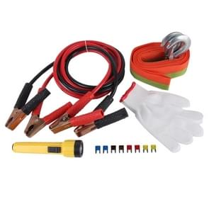 5 in 1 3m×4cm 3 Ton Towing Belt Rope 400AMP Booster Kabel Torch Glove Fuse Car Road Emergency Kit