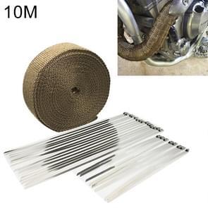 10m Titanium Gold Exhaust Wrap Auto Motor Exhaust Heat Shield Wrap Heat Resistant Wrap