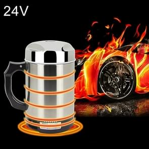 Universal DC 24V Stainless Steel Car Electric Kettle Heated Mug Heating Cup with Charger Cigarette Lighter for Car and Family, Capacity: 880ML