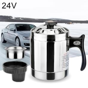 Universal DC 24V Stainless Steel Car Electric Kettle Heated Mug Heating Cup with Charger Cigarette Lighter for Car and Family, Capacity: 1000ML